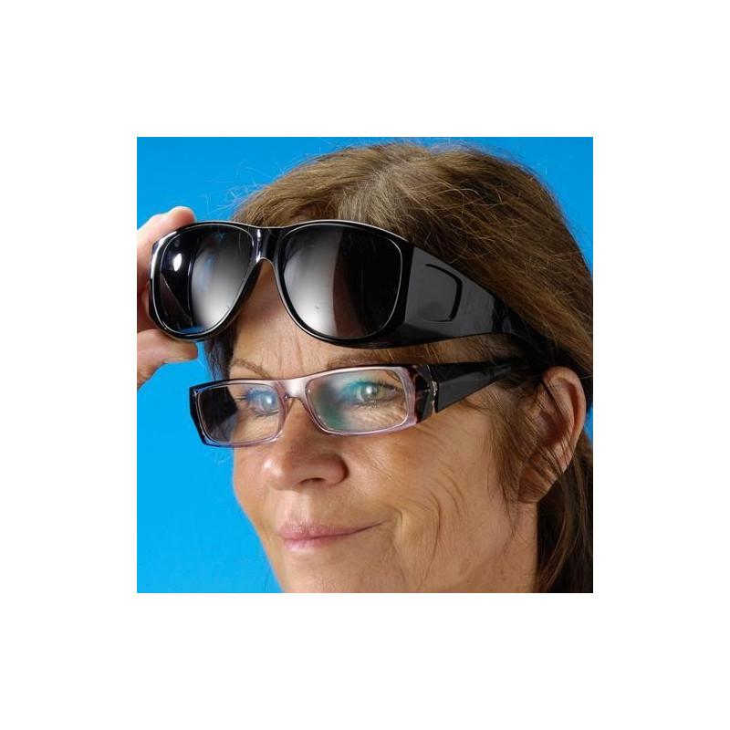2 paires de sur-lunettes nuit + soleil + 2 supports