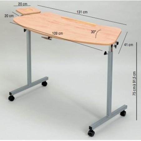 Table ergonomique à roulettes avec tablette