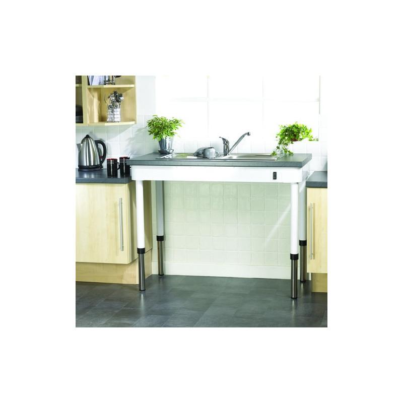 Table de cuisine droite à niveau réglable manuel