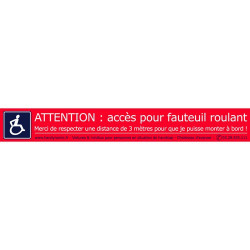 "Lot de 10 autocollants ""Attention fauteuil roulant """