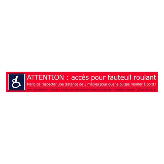 """Lot de 10 autocollants """"Attention fauteuil roulant """""""