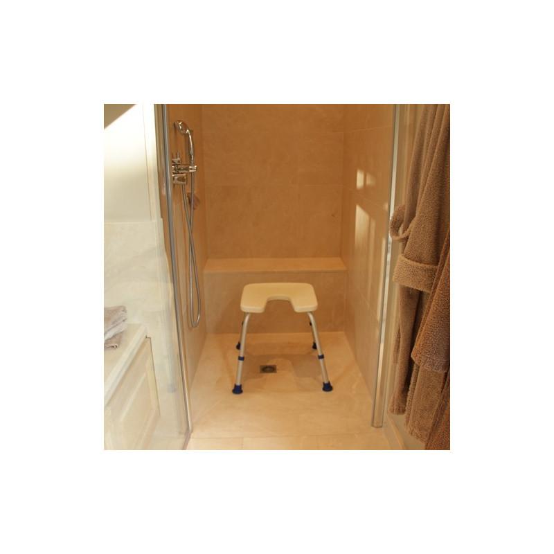 Tabouret de douche avec découpe Sidney blanc