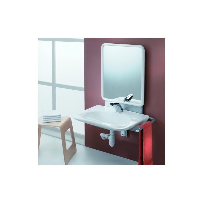 Support lavabo r glable avec miroir salle de bain pmr for Miroir en solde
