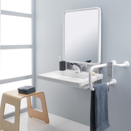 Support lavabo réglable électrique avec miroir