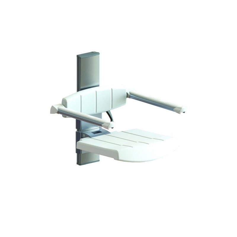 Siège de douche à hauteur variable avec dossier et accoudoirs Profilo