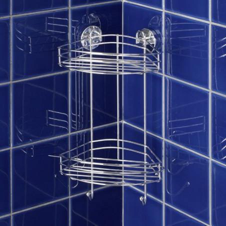 Etagère d'angle 2 niveaux pour salle de bain