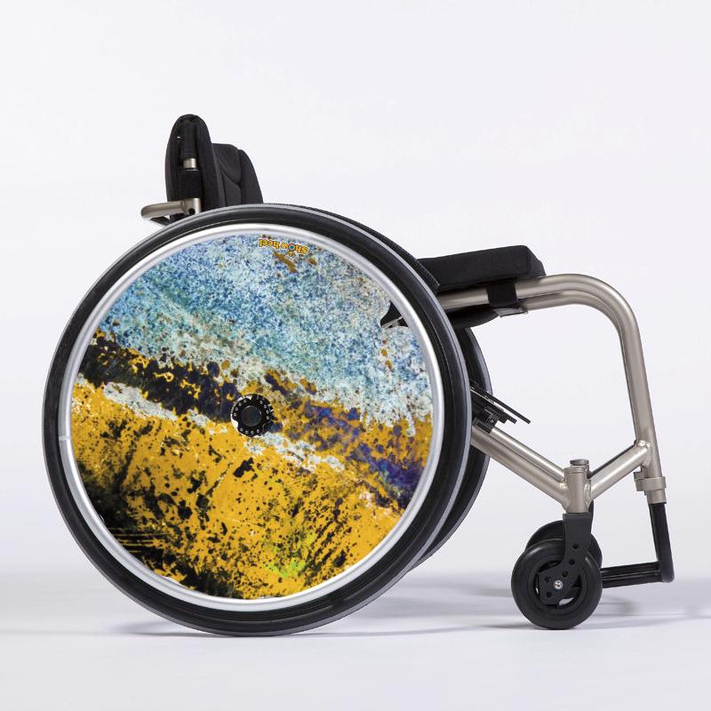 Flasque fauteuil roulant Paint wall bleu