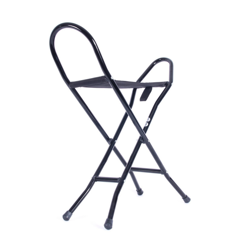 Canne siège pliante avec assise tissu