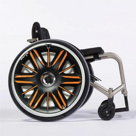 Flasque fauteuil roulant Enjoliveur metal orangé