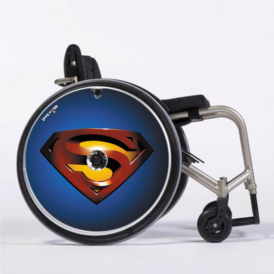 Flasque fauteuil roulant modèle Superman bleu