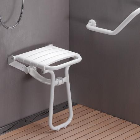 Siège de douche escamotable avec béquille automatique