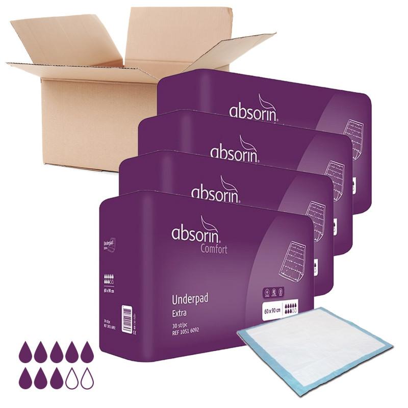 Lot de 4 paquets ABSORIN Extra - Alèses jetables 60 x 90 cm (x120)
