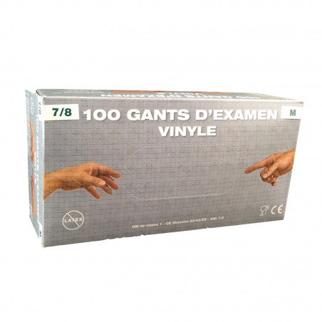 Gants en vinyle jetables poudrés - Lot de 100