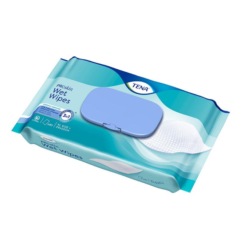 TENA Wet Wipe Lingettes 3 en 1