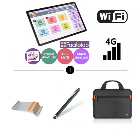 "PACK SAMSUNG - Facilotab L Galaxy - WiFi et 4G - 32GO - 10,1"" + Support + Housse + Stylet"