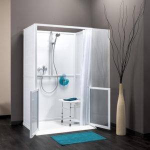 Douche intégrale à l'italienne avec portes à mi-hauteur