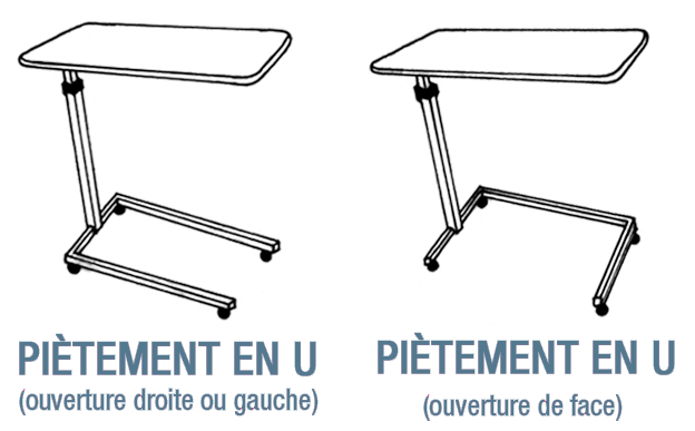 Table de lit - Piétement en U
