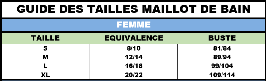 Guide tailles femme maillot de bain incontinence