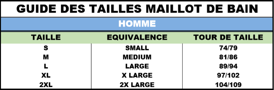 Guide tailles Homme maillot de bain incontinence